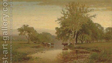 On the Farmington River, Connecticut by James McDougal Hart - Reproduction Oil Painting