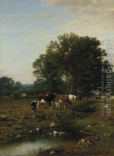 Spring on the Farm by James McDougal Hart - Reproduction Oil Painting