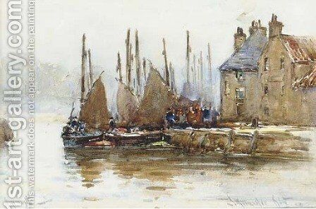 Unloading at the quayside by James MacMaster - Reproduction Oil Painting