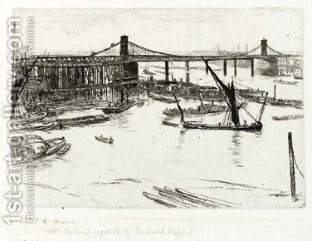Old Hungerford Bridge 2 by James Abbott McNeill Whistler - Reproduction Oil Painting