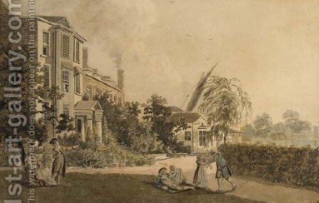 A house situated on the banks of the Thames, near Hammersmith, with figures in the garden by James Miller - Reproduction Oil Painting