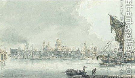 View of the Thames with St Paul's in the distance, London by James Miller - Reproduction Oil Painting