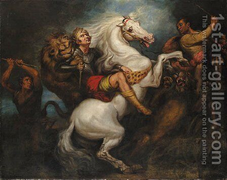 A lion hunt by James Northcote, R.A. - Reproduction Oil Painting