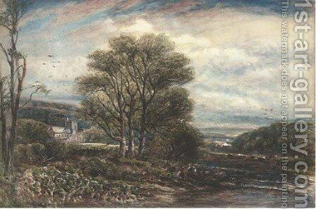 Anglers before Lanercost Priory by James Orrock - Reproduction Oil Painting