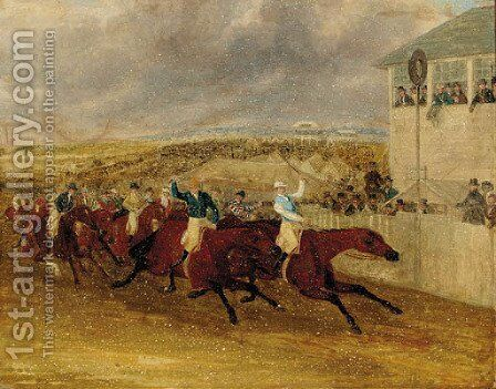 Mr Ridsdale's Bloomsbury beating Mr Craven's Deception, The Derby, 1839 by James Pollard - Reproduction Oil Painting