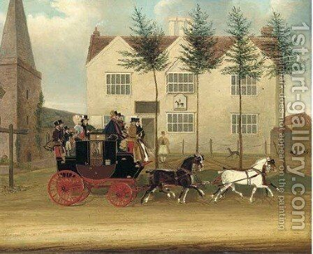 The Guildford to London coach passing before an inn by James Pollard - Reproduction Oil Painting