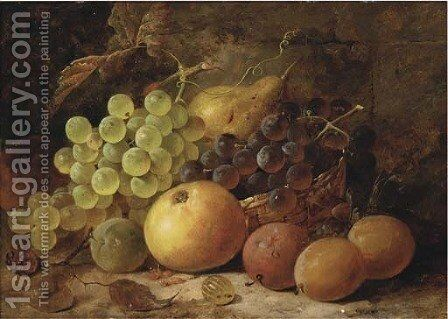 Grapes, plums, with an apple, pear and raspberry on a bank by James Poulton - Reproduction Oil Painting