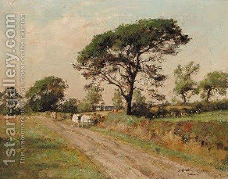 Returning home from milking by James Riddel - Reproduction Oil Painting