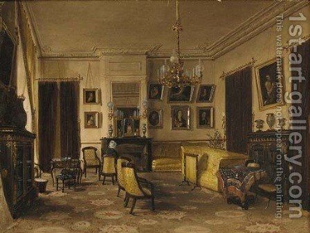 A view of a French interior by James Roberts - Reproduction Oil Painting