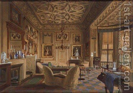 The Queen's sitting room, Buckingham Palace, London by James Roberts - Reproduction Oil Painting