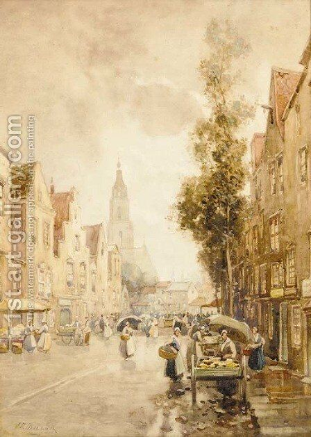 A Dutch market on a sunny day by James Miller - Reproduction Oil Painting