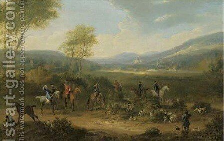 A Hunting Party With Hounds In An Extensive River Landscape by James Ross - Reproduction Oil Painting