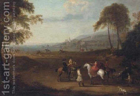 An Elegant Hunting Party in an Extensive Landscape by James Ross - Reproduction Oil Painting