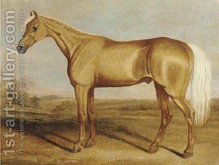 The racehorse Silvertail standing in an extensive landscape by James Russell Ryott - Reproduction Oil Painting
