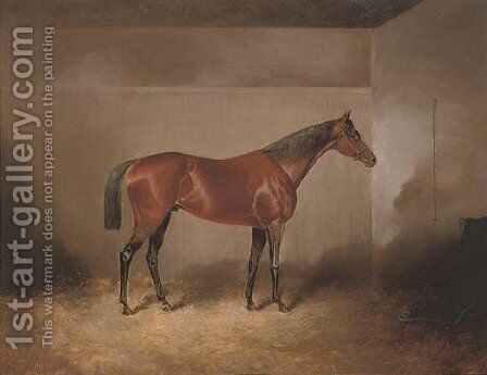 A bay hunter in a stable by James Scott Kinnear - Reproduction Oil Painting