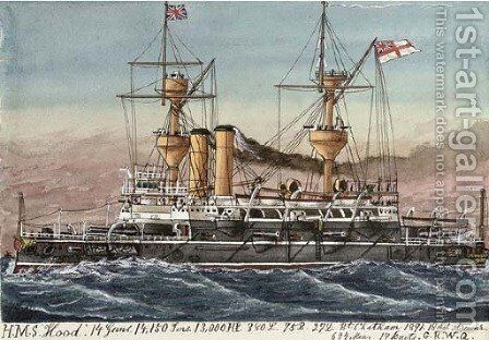 H.M.S. Hood (illustrated) by James Scott Maxwell - Reproduction Oil Painting