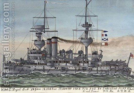 H.M.S. Royal Oak (illustrated) by James Scott Maxwell - Reproduction Oil Painting