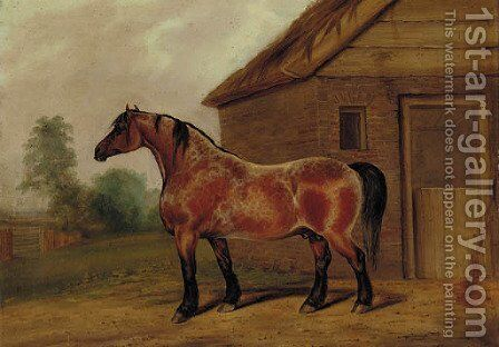 A strawberry roan horse before a stable by James Scraggs - Reproduction Oil Painting