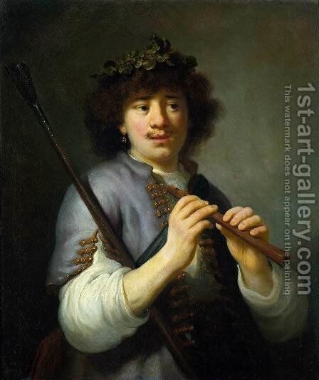 Rembrandt as Shepherd with Staff and Flute c. 1636 by Govert Teunisz. Flinck - Reproduction Oil Painting
