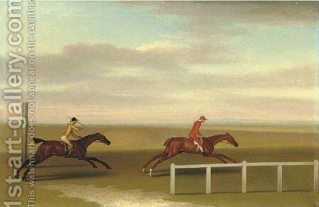 Two race horses in a match by James Seymour - Reproduction Oil Painting