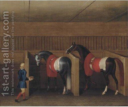 Two racehorses with a groom in a stable by James Seymour - Reproduction Oil Painting