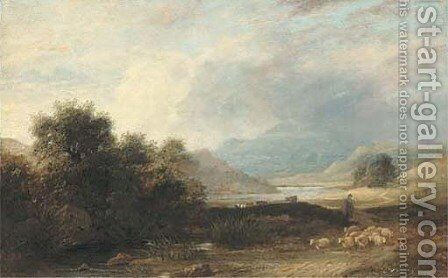 A shepherd and his flock by a brook at Allswater, Cumberland by James Stark - Reproduction Oil Painting