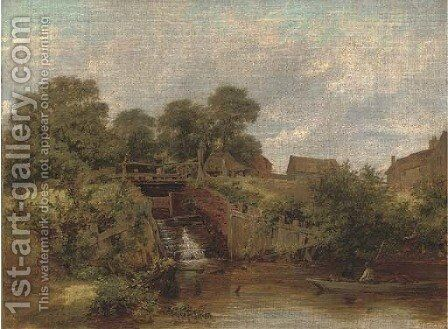Eel catchers by the sluice, Trump's Mill, North Wales by James Stark - Reproduction Oil Painting