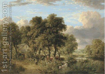 On the Yare a wooded river landscape with cattle, a figure and a cottage by James Stark - Reproduction Oil Painting