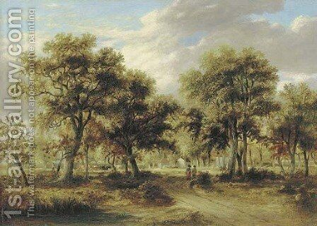 View of Richmond Park with figures on a path and cattle beyond by James Stark - Reproduction Oil Painting