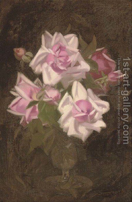 Pink roses in a vase by James Stuart Park - Reproduction Oil Painting