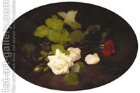 Roses on a ledge by James Stuart Park - Reproduction Oil Painting