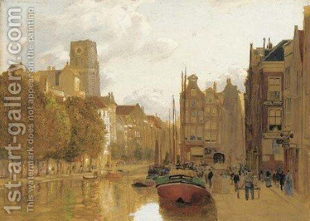 A view of Rotterdam with the Laurens church in the background by James Thomas Watts - Reproduction Oil Painting