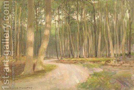 An evening glow in the woods by James Thomas Watts - Reproduction Oil Painting