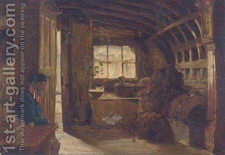 Old Adam in an upturned boat, Burnham by James Wallace - Reproduction Oil Painting