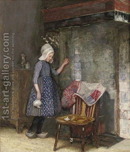 Stealing a glance at the new dress by James Walter West - Reproduction Oil Painting