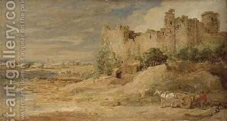 A castle by the sea, possibly Manorbier Castle, Pembrokeshire by James Ward - Reproduction Oil Painting