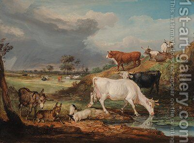 Cattle, donkeys and pigs by a pool 2 by James Ward - Reproduction Oil Painting