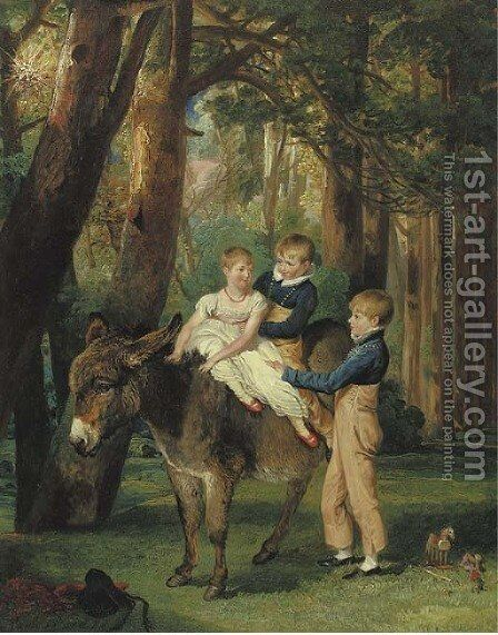Group Portrait of John, Theophilus and Frances Levett by James Ward - Reproduction Oil Painting