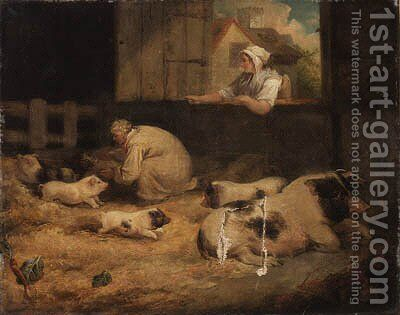 Tending the piglets by James Ward - Reproduction Oil Painting