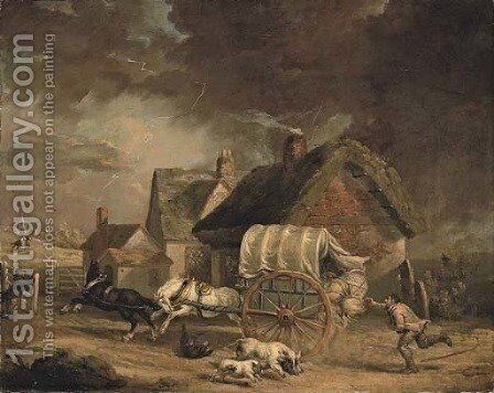 The Runaway Wagon by James Ward - Reproduction Oil Painting