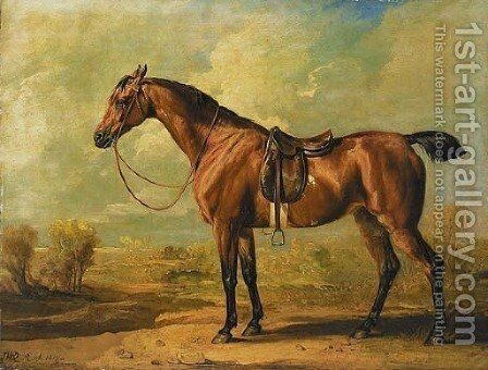 Wasp, a saddled bay hunter, in a landscape by James Ward - Reproduction Oil Painting