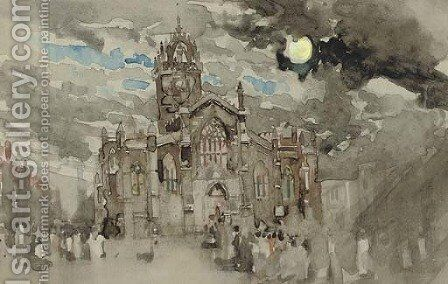 A procession at St Giles, Edinburgh by James Watterston Herald - Reproduction Oil Painting