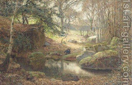 A Rocky Woodland Pond by James Thomas Watts - Reproduction Oil Painting