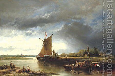 A Barge in a Norfolk Landscape by James Webb - Reproduction Oil Painting