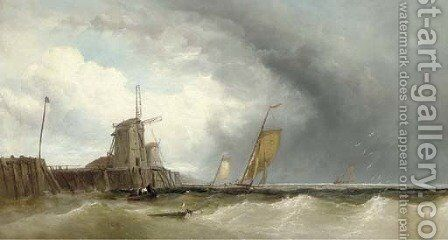 Luggers off a jetty by James Webb - Reproduction Oil Painting