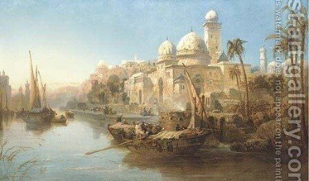 Vessels moored at the steps of a Moorish palace by James Webb - Reproduction Oil Painting