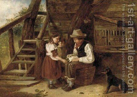 The pet rabbit by James Cole - Reproduction Oil Painting