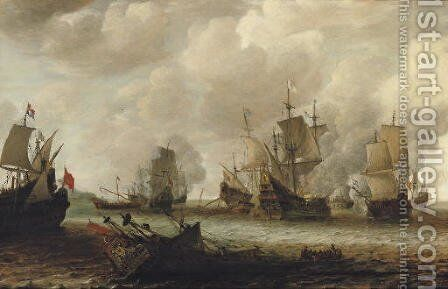 A naval battle between Dutch and Spanish men o'war by Jan Abrahamsz. Beerstraaten - Reproduction Oil Painting