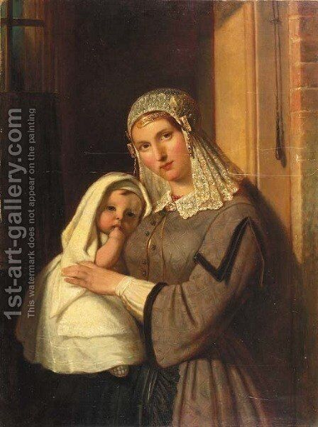 A woman in the regional costume of Gouda holding a child by Jan Adam Janszoon Kruseman - Reproduction Oil Painting