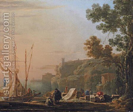 A Mediterranean coastal inlet with merchants unloading boats, a temple beyond by Jan Asselyn - Reproduction Oil Painting